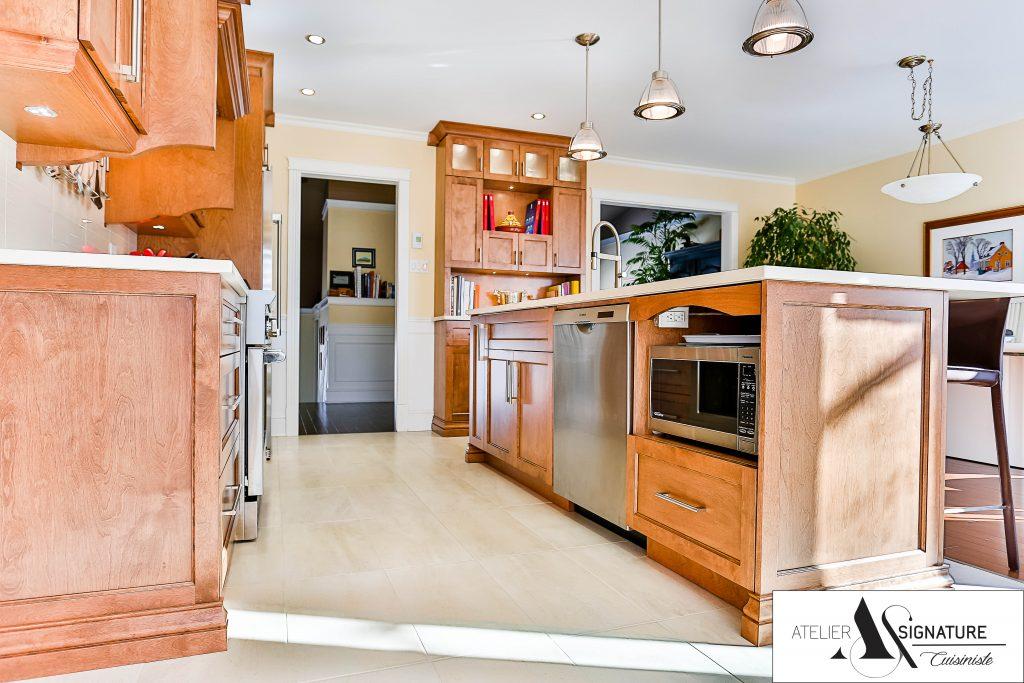 Ilot armoire de cuisine en bois merisier